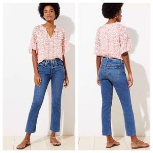Loft Slim Pocket High Waist Straight Crop Jeans 27